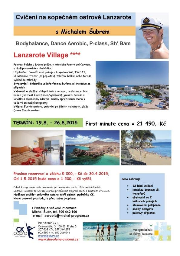 2)Tanečně posilovací dovolená na Lanzarote, Last minute cena je do 30.4.2015