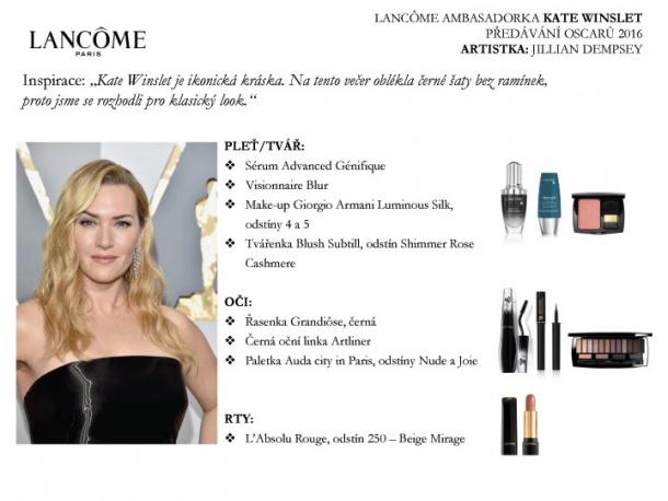 Look Kate Winslet na předávání Oscarů 2016 - kompletní rozpis kosmetických výrobků